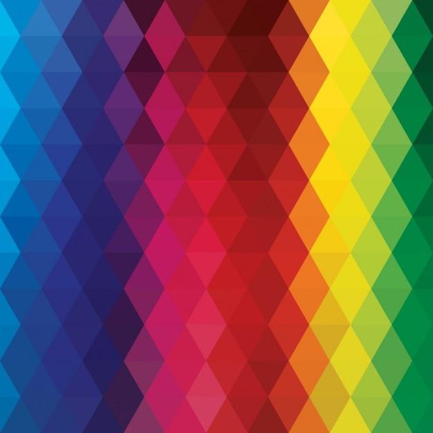 Fond polygonal avec des couleurs de l'arc Vecteur gratuit