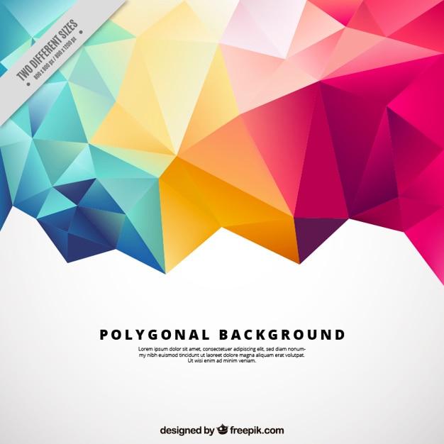 Fond Polygonal Avec Des Formes Colorées Vecteur gratuit
