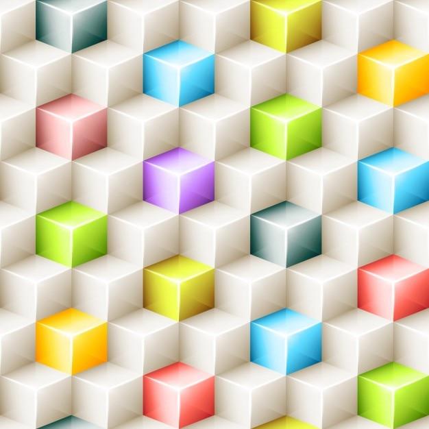 Fond polygonale colorful cubes Vecteur gratuit