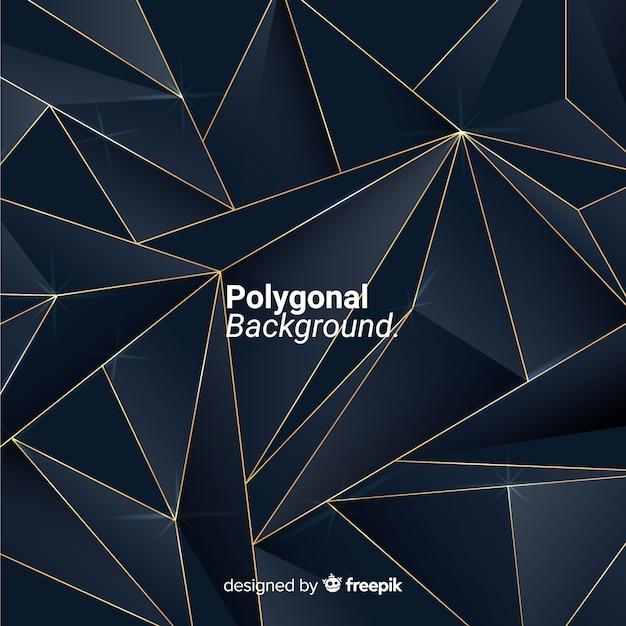 Fond polygonale sombre et doré Vecteur gratuit