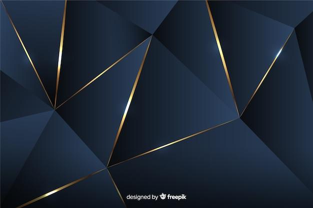 Fond polygonale sombre avec des lignes dorées Vecteur gratuit
