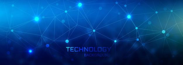 Fond De Polygone De Connexion Numérique Bannière Technologie Vecteur gratuit