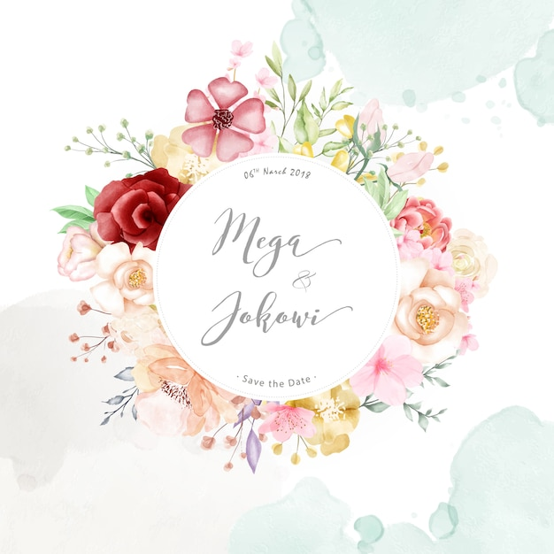 Fond polyvalent aquarelle cadre floral Vecteur Premium