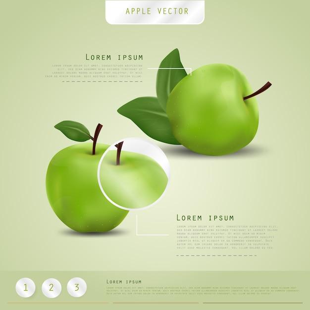 Fond De Pommes Vertes. Conception D'affiche. Vecteur Premium