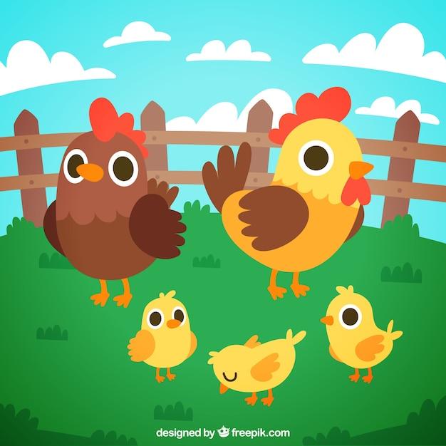 Fond de poulet et de poussins Vecteur gratuit
