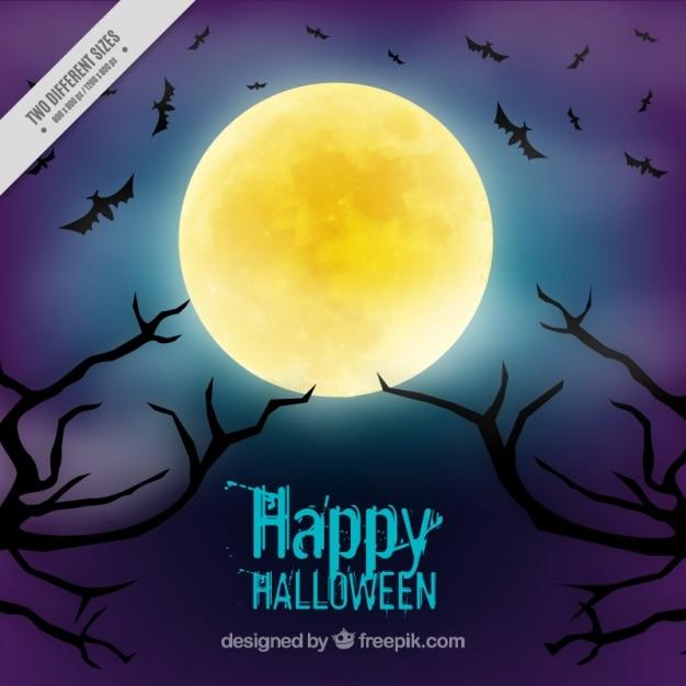 Fond pour halloween avec une pleine lune Vecteur gratuit
