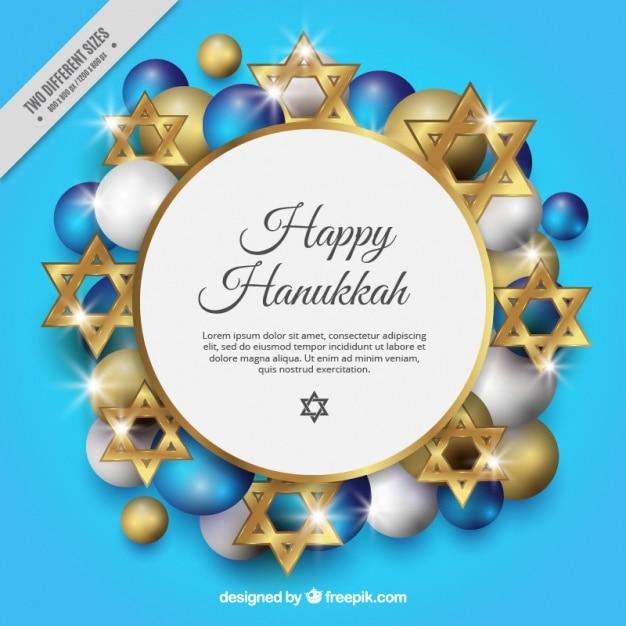 Fond pour hanoucca avec des étoiles d'or et des balles Vecteur gratuit