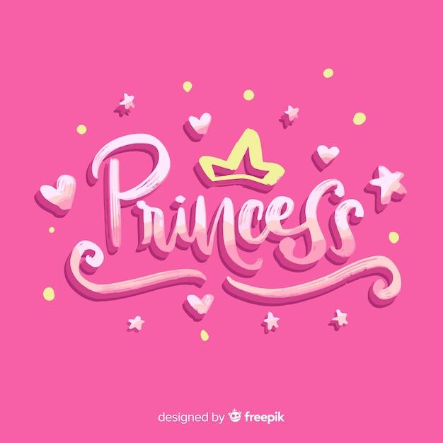 Fond De Princesse Calligraphique Vecteur gratuit
