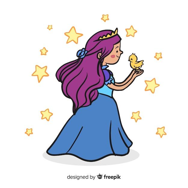 Fond de princesse dessiné à la main Vecteur gratuit