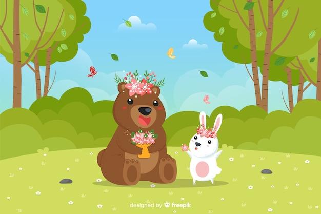 Fond de printemps animaux dessinés à la main Vecteur gratuit