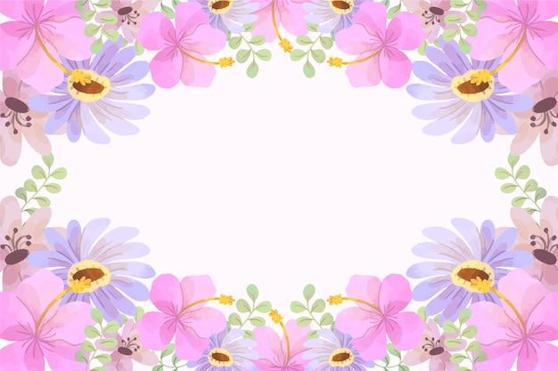 Fond De Printemps Aquarelle Avec Des Fleurs Roses Vecteur gratuit