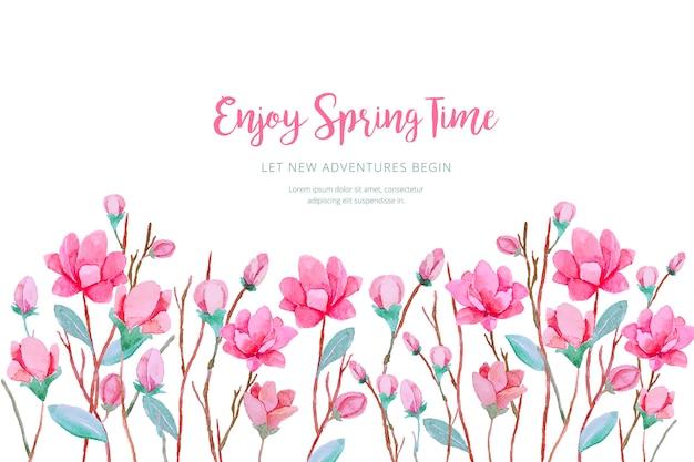 Fond de printemps aquarelle Vecteur gratuit