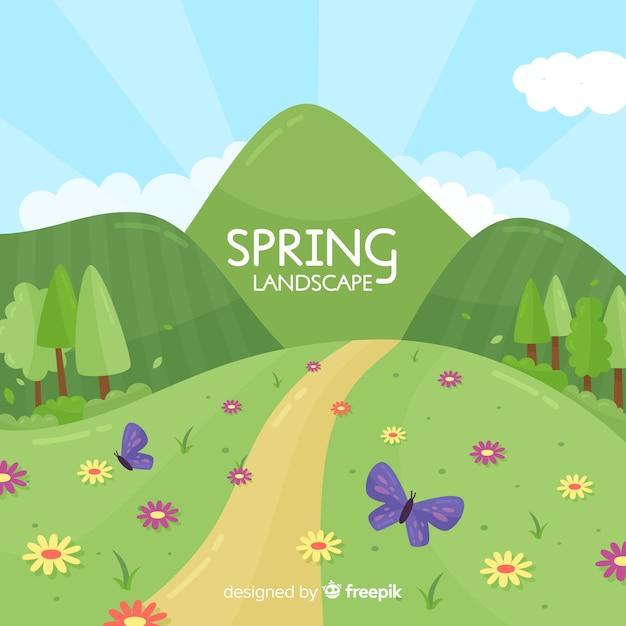 Fond de printemps colline dessinés à la main Vecteur gratuit