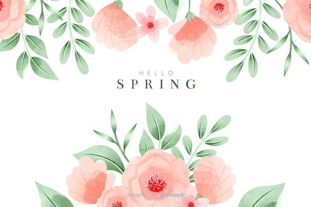 Fond de printemps coloré avec des fleurs à l'aquarelle Vecteur gratuit