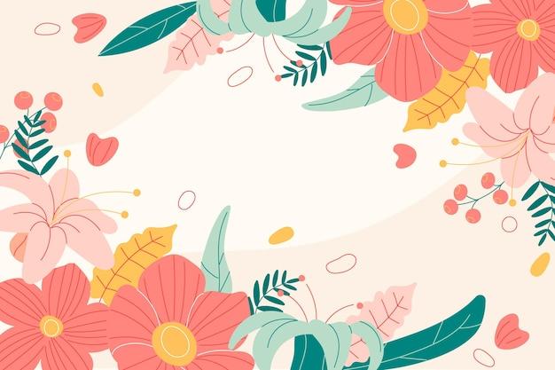 Fond De Printemps Dessiné à La Main Avec Des Fleurs Vecteur gratuit