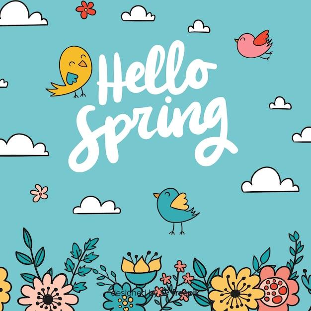 Fond de printemps dessiné à la main Vecteur gratuit