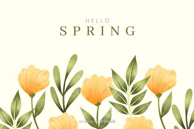 Fond de printemps avec des fleurs jaunes aquarelles Vecteur gratuit