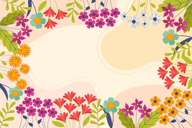 Fond De Printemps Floral Dessiné à La Main Vecteur gratuit