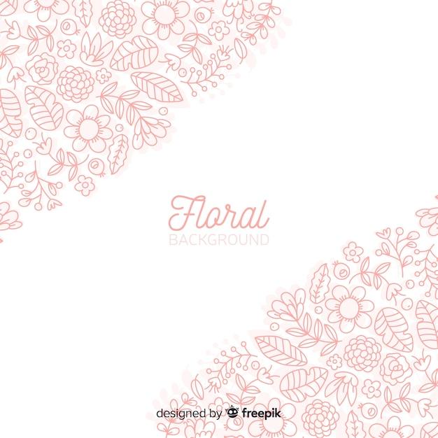 Fond de printemps floral doodles Vecteur gratuit