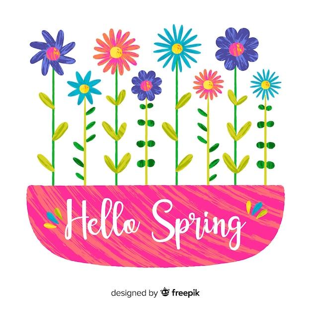 Fond de printemps ligne fleur dessiné à la main Vecteur gratuit