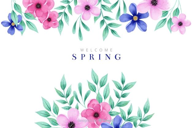 Fond de printemps magnifique avec des fleurs à l'aquarelle Vecteur gratuit