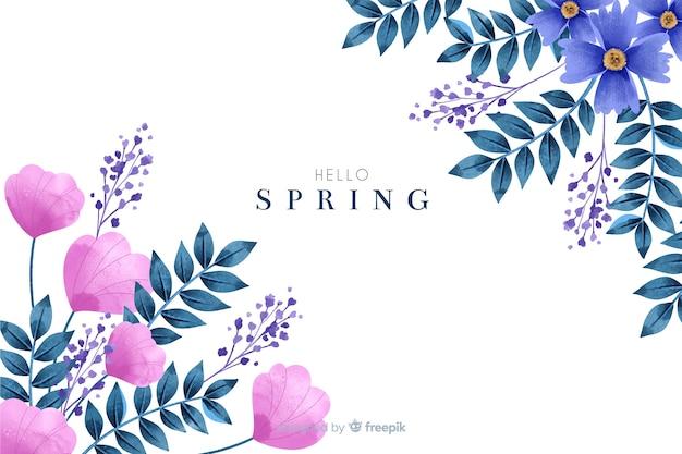 Fond de printemps mignon avec des fleurs à l'aquarelle Vecteur gratuit