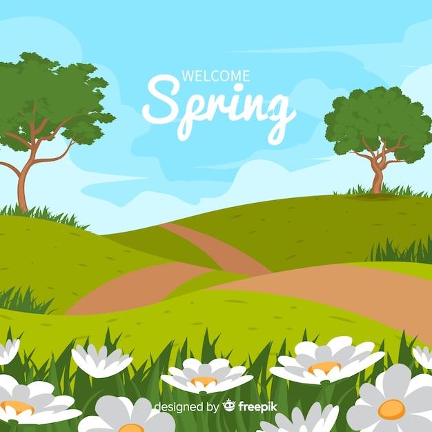 Fond de printemps paysage champ Vecteur gratuit