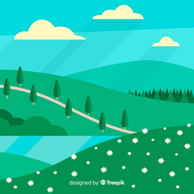 Fond de printemps plat collines Vecteur gratuit
