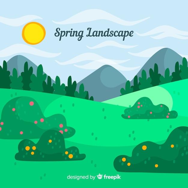 Fond de printemps sur le terrain dessiné à la main Vecteur gratuit