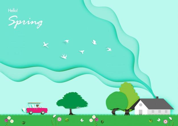 Fond de printemps avec le vecteur de design art papier Vecteur Premium