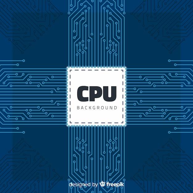 Fond de processeur moderne avec style linéaire Vecteur gratuit