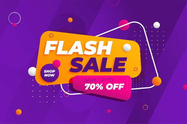 Fond De Promotion De Bannière De Réduction De Vente Flash Vecteur Premium