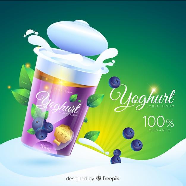 Fond de publicité réaliste au yaourt naturel Vecteur gratuit