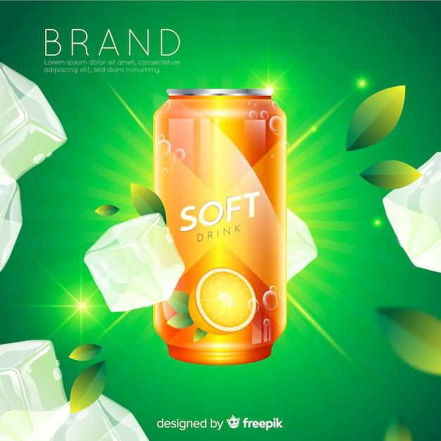 Fond de publicité réaliste de boisson gazeuse Vecteur gratuit
