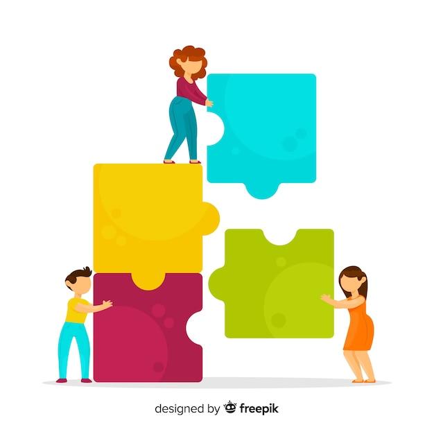 Fond de puzzle de connexion d'équipe Vecteur gratuit