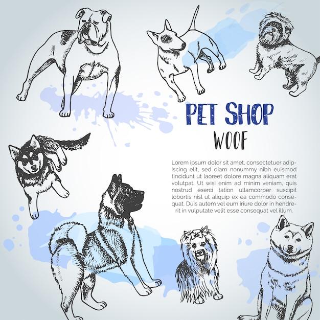 Fond avec des races de chiens dessinés à la main. Vecteur Premium