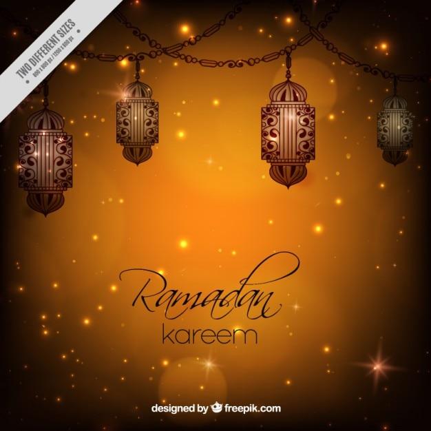 Fond Ramadan Brillant Avec Des Lanternes Vecteur gratuit