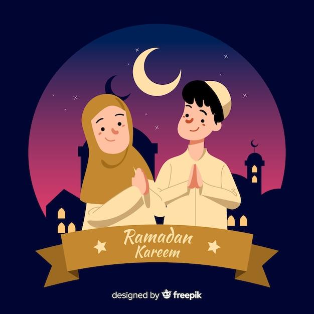 Fond de ramadan dessiné à la main Vecteur gratuit