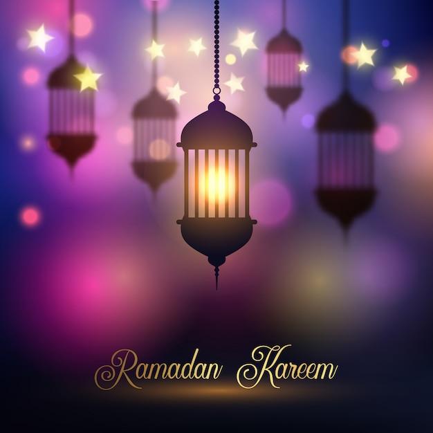 Fond de ramadan kareem avec des lanternes suspendues Vecteur gratuit