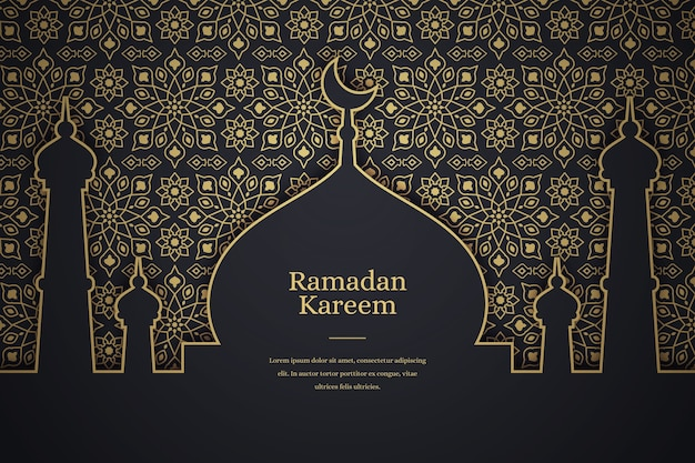 Fond De Ramadan Kareem Plat Vecteur Premium