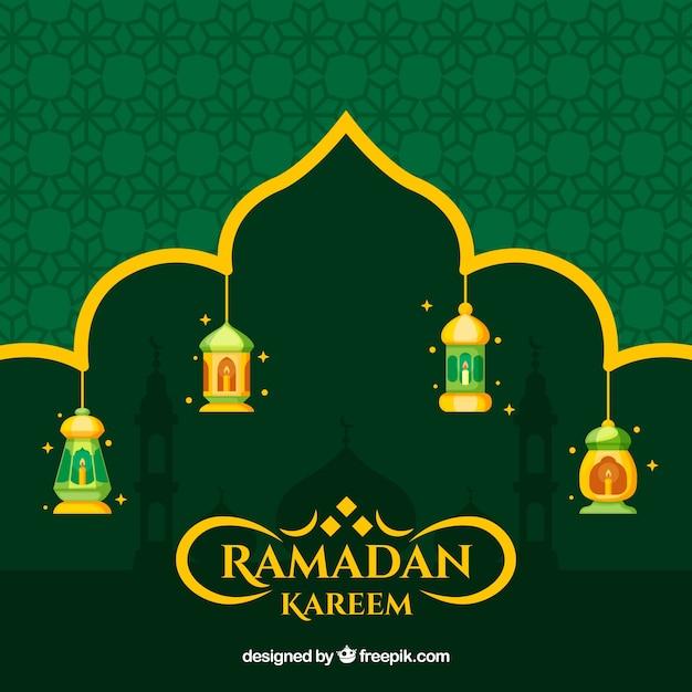 Fond de ramadan avec des lampes et des ornements Vecteur gratuit
