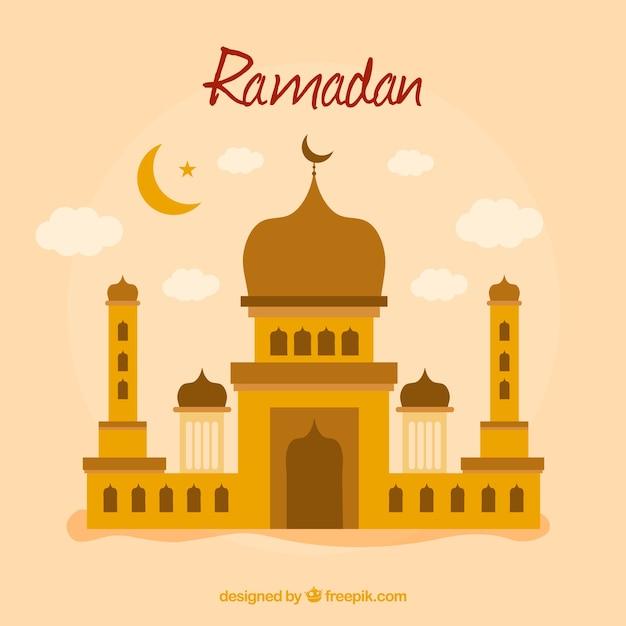 Fond De Ramadan Avec La Mosquée Dans Le Style Plat Vecteur gratuit