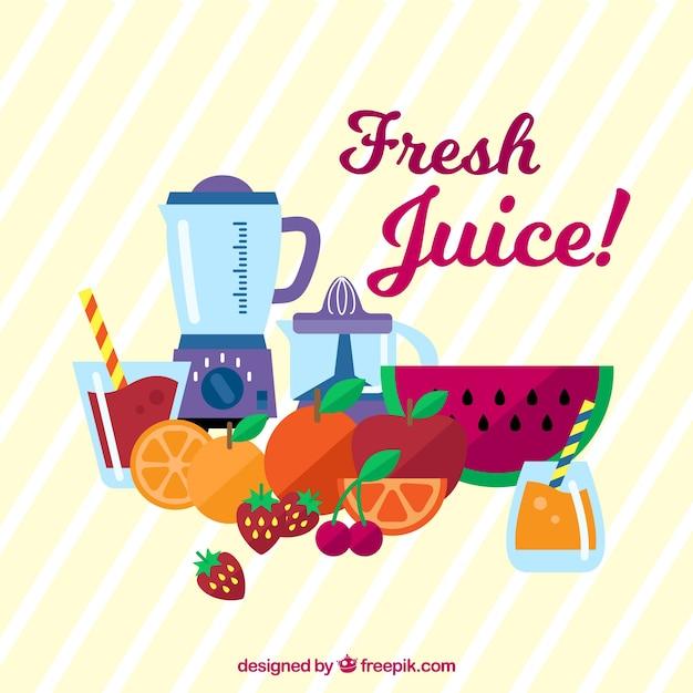 Fond Rayé Aux Fruits Et Au Mélangeur Vecteur gratuit