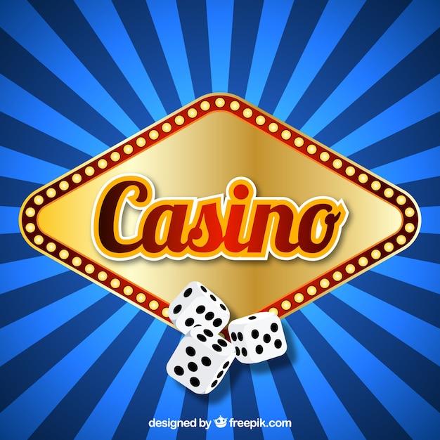Fond rayé bleu avec signe lumineux de casino et de dés Vecteur gratuit