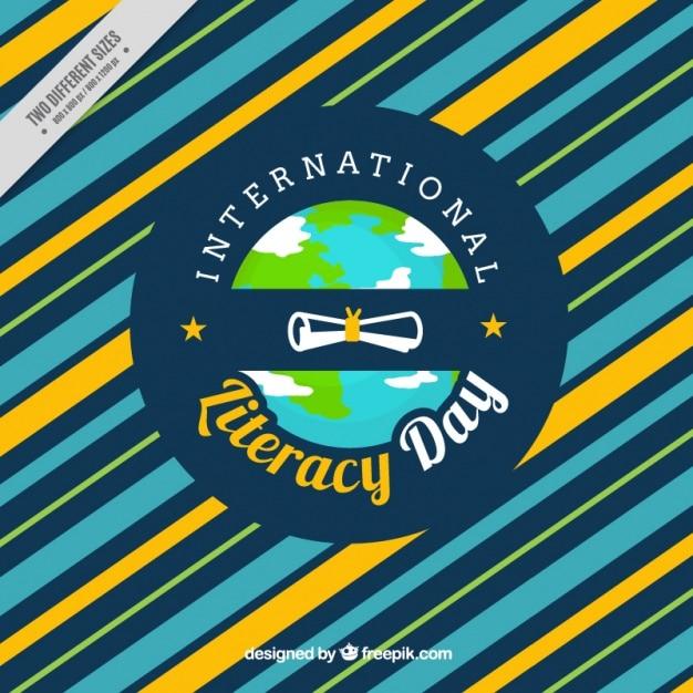 Fond rayé de la journée internationale de l'alphabétisation Vecteur gratuit