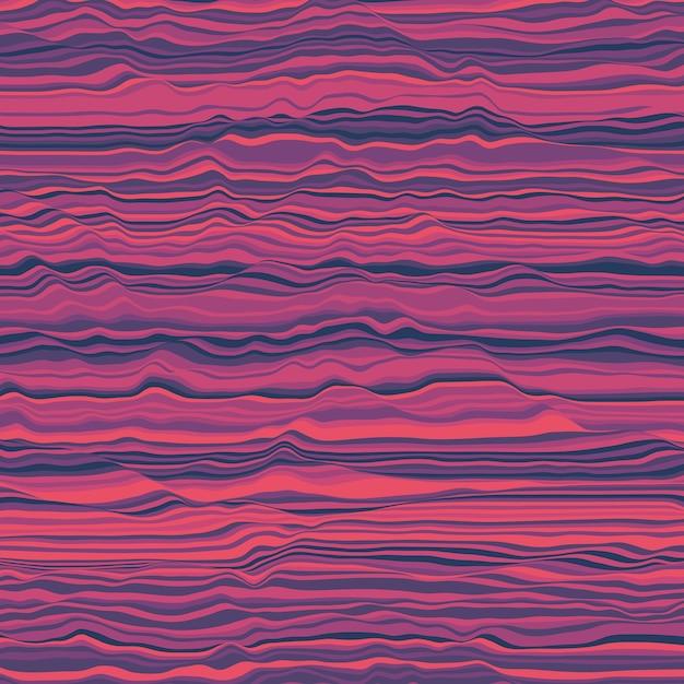 Fond Rayé De Vecteur. Vagues De Couleur Abstraites. Oscillation Des Ondes Sonores. Lignes Bouclées Géniales. Texture Ondulée élégante. Distorsion De Surface. Fond Coloré. Vecteur gratuit
