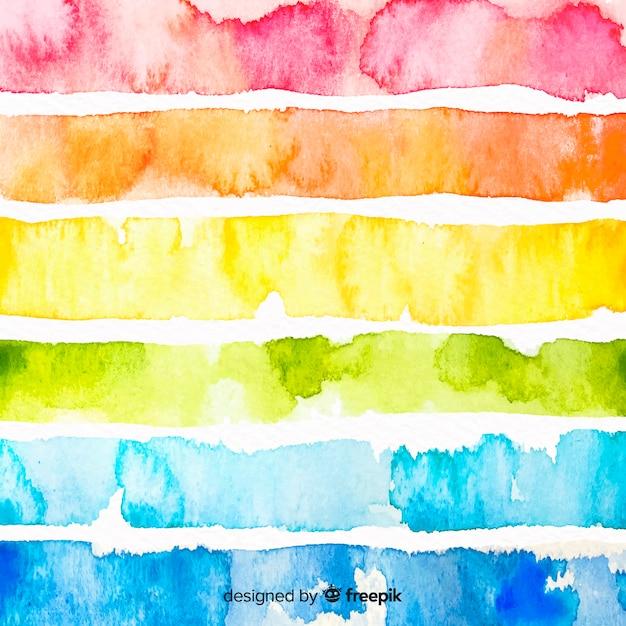 Fond de rayures aquarelles colorées Vecteur gratuit
