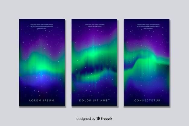 Fond réaliste d'aurores boréales Vecteur gratuit