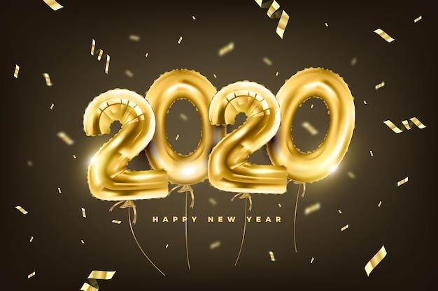 Fond réaliste de ballons du nouvel an 2020 Vecteur gratuit