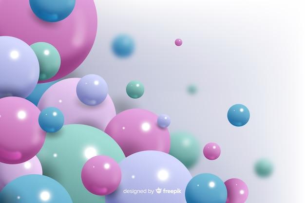 Fond réaliste de boules colorées qui coule Vecteur gratuit